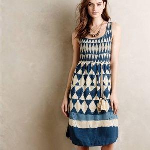 NWOT MAEVE Castalia Tie Dye Blue Diamond Dress 8